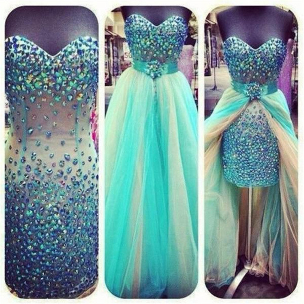 High Low Prom Dresses with Diamonds