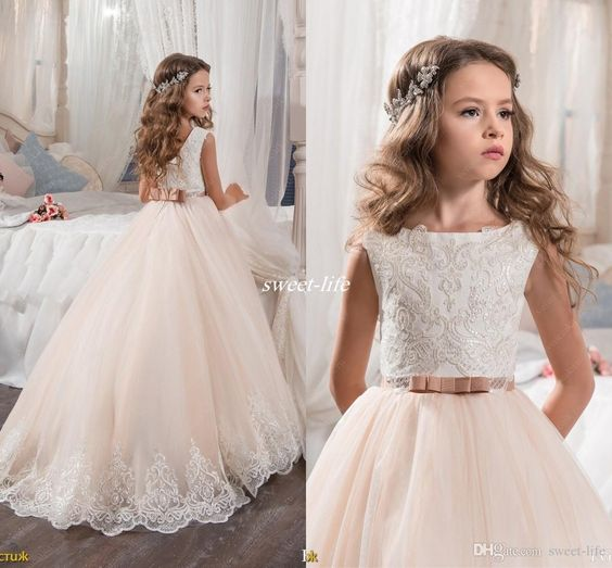 Rustic Flower Girl Dresses For Wedding Blush Pink Princess Tutu Lace Bow 2017 Vintage Dress Cheap