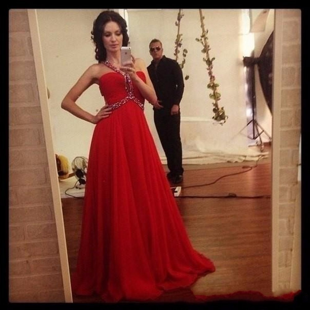 Elegant Halter Long Chiffon Prom Dresses Full Beaded Bodice Cheap ...