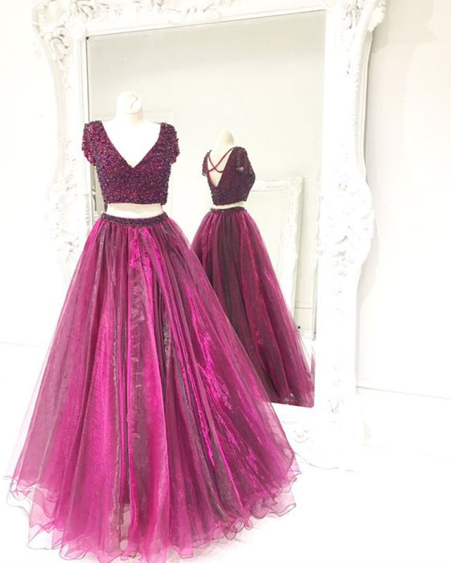 Cute two pieces tulle sequin purple red long prom dress, evening ...