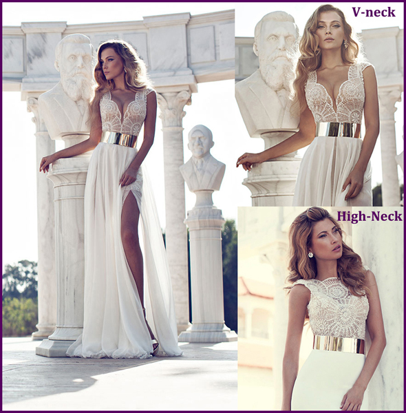 Charming Sexy Front Split V Neck High Neck All Over Beads Wedding - Sexy White Wedding Dress