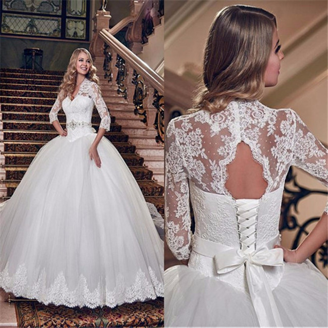 Lace Wedding Gown , Ivory Wedding Gowns , Half Sleeve Bridal Dresses ...