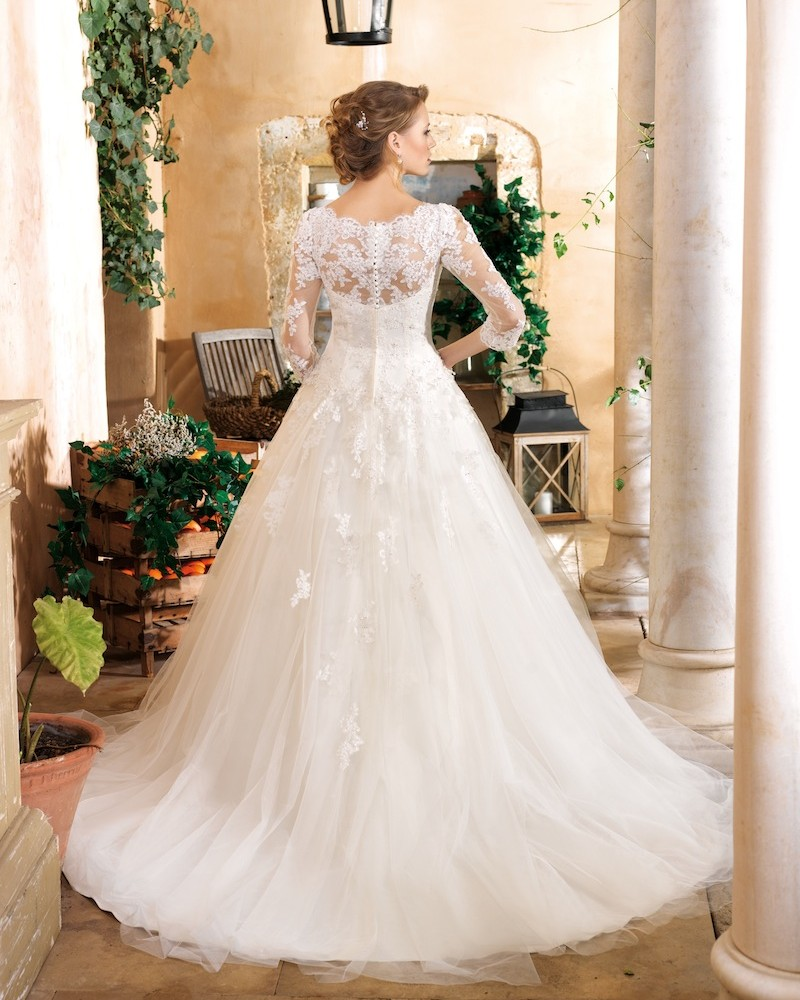 Lace and Tulle Ball Gown Wedding Dress with Long Sleeves ...