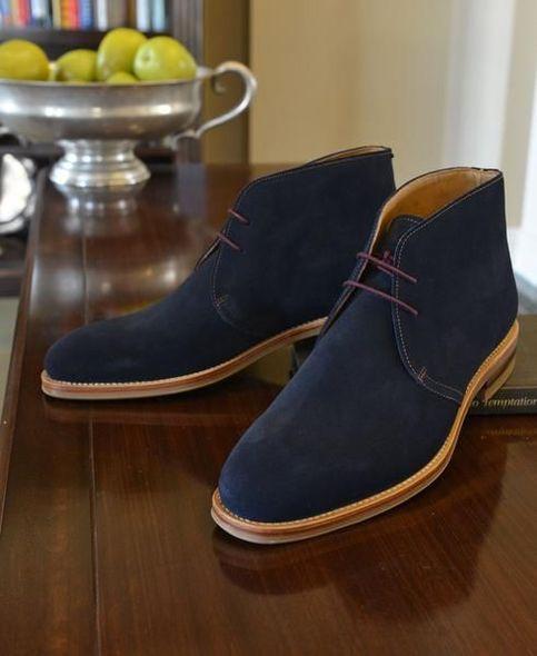 Handmade Men's Navy Blue Chukka Boot, Men Genuine Suede