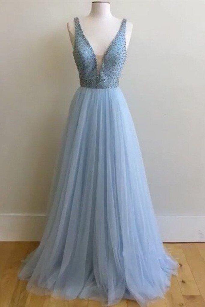 Beautiful V-Neck Beading Prom Dress,Long Prom Dresses,Charming Prom ...