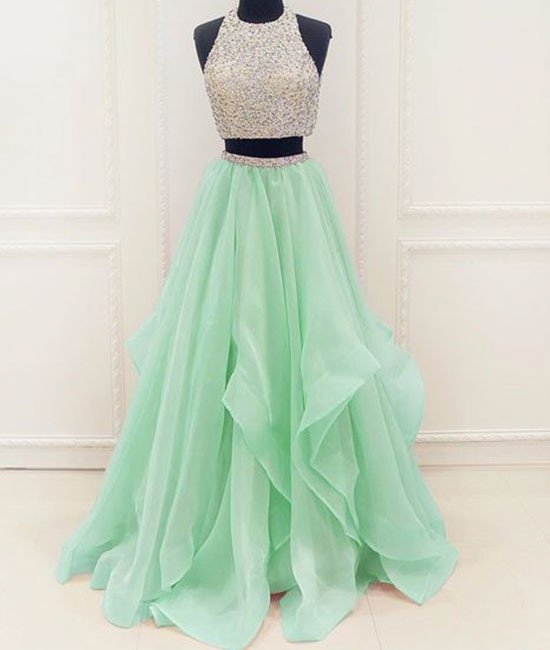 Long Prom Dress Stunning unique two pieces sequin mint green long ...