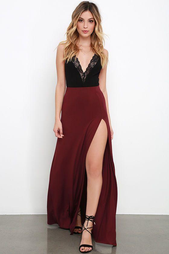 A-line Long Prom Dress Burgundy evening Dresses Wine Red Black Lacve ...