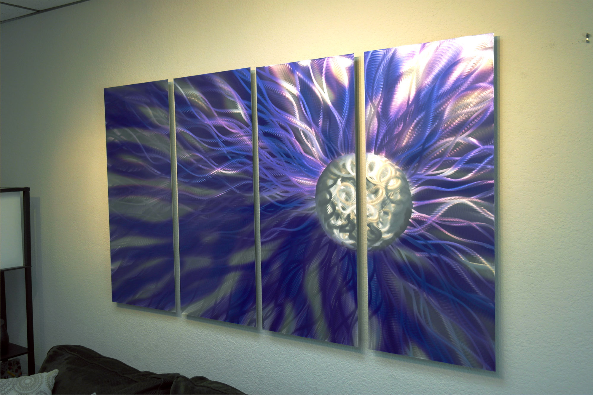 solare purple 36x63 abstract metal wall art contemporary modern decor inspiring art gallery. Black Bedroom Furniture Sets. Home Design Ideas