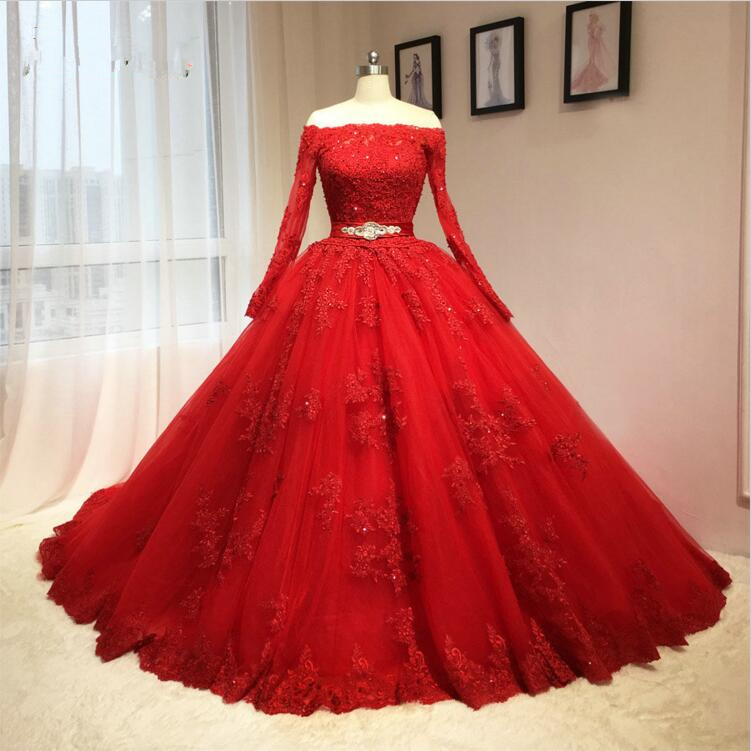 Ball gown off shoulder long sleeves red lace wedding dress for Short red and white wedding dresses
