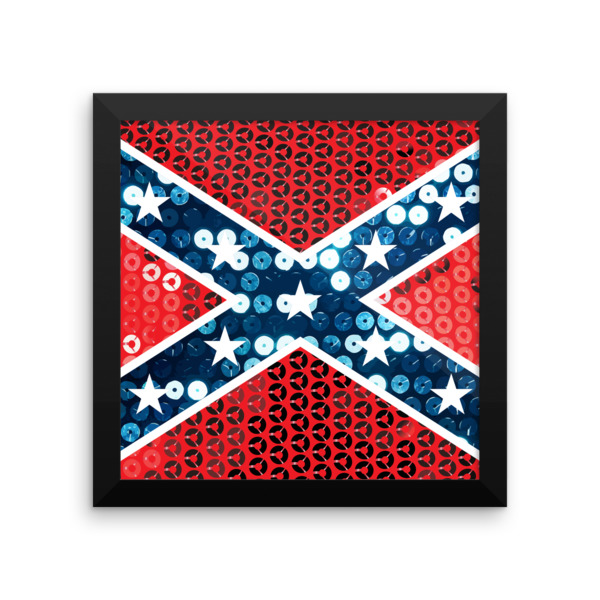 sequin confederate flag framed photo paper poster retro vintage