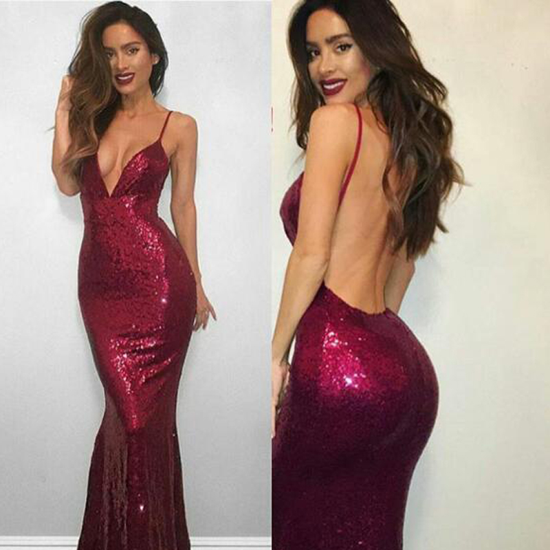 ee08208f06d Spaghetti Burgundy Sequin Sexy V-neck Long Mermaid Backless Prom Dresses