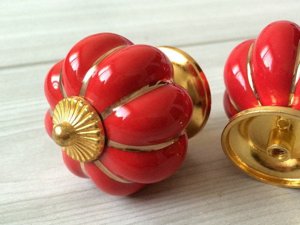 Red gold pumpkin cabinet dresser knobs kitchen kids drawer - Red kitchen cabinet knobs ...