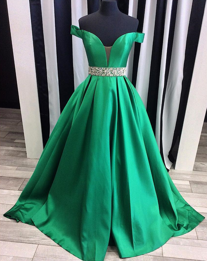 Green Off The Shoulder Prom Gown, Plunging V Neck Formal Gown ...