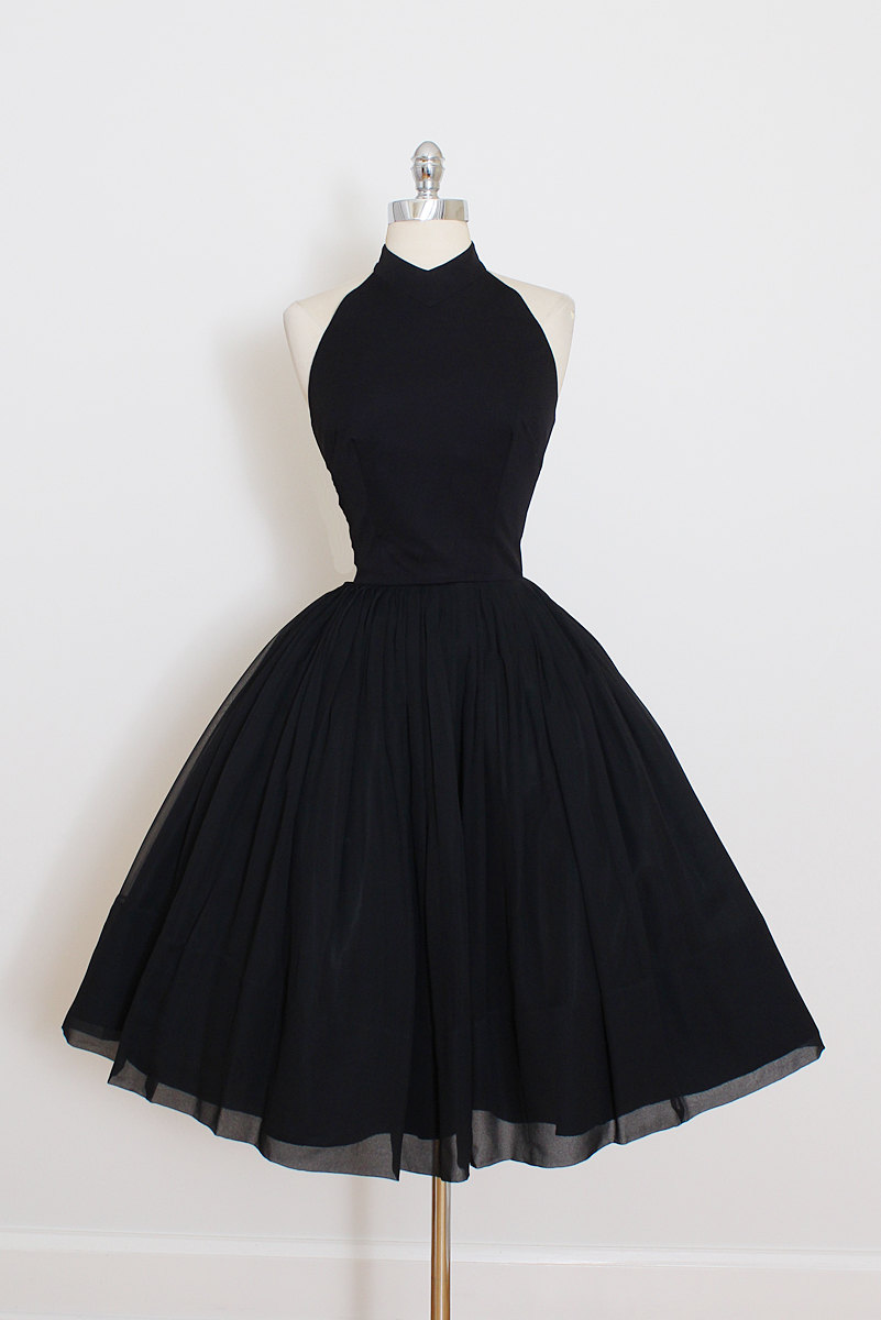 Vintage little black dress short black halter prom dress for Little black wedding dress