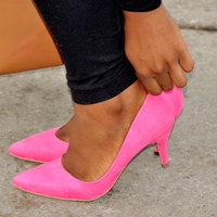 Skinnybish | Bright pink low heels | Online Store Powered by Storenvy