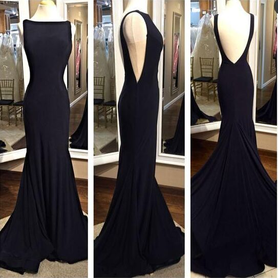 Simple Backless Long Black Mermaid Prom Dresseselegant Cheap Prom