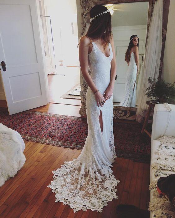 Romantic boho wedding dresses backless lace skirt mermaid elegant romantic boho wedding dresses backless lace skirt mermaid elegant white wedding gowns junglespirit Choice Image