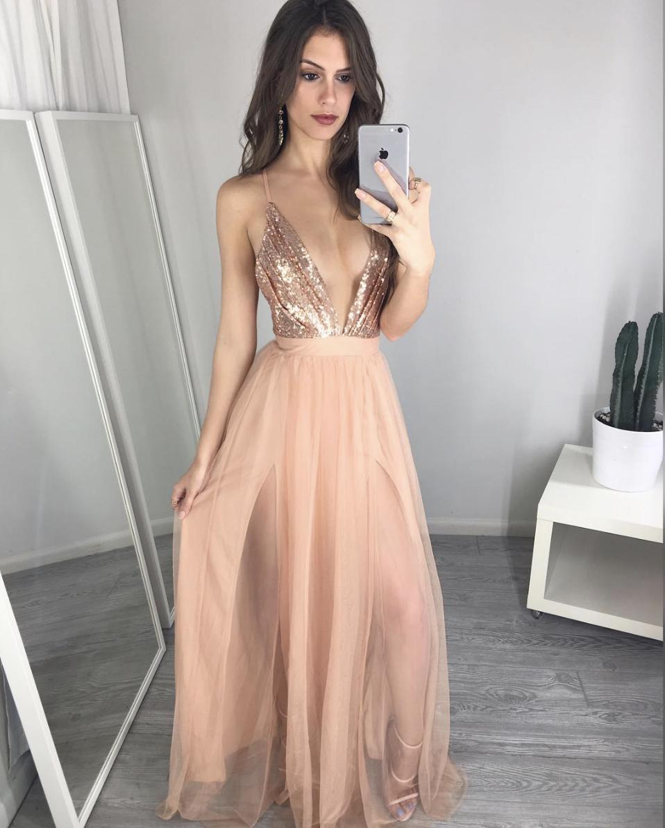 Pink V Neck Tulle Sequins Long Prom Dresspink Evening Dress