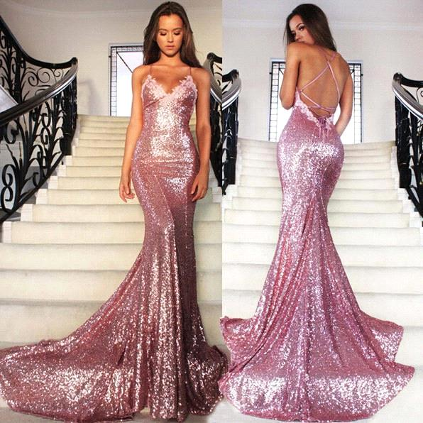Mermaid Shiny Pink Sequins Long Prom Dresspink Evening Gown