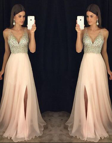 794d41abbc7 A-line V-neck Beaded Bodice Blush Pink Chiffon Prom Dresses for 2018 Spring