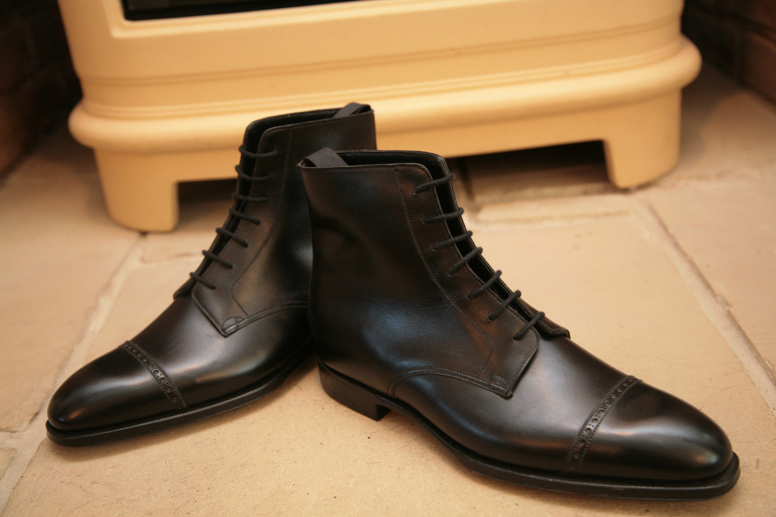 Handmade Mens Oxford Dress Boot Men Black Lace Up Ankle Leather