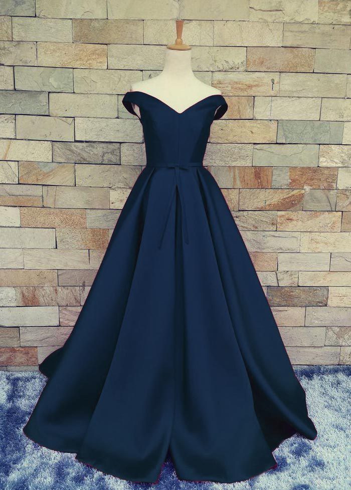 A339 Charming Dark Navy Blue A Line Prom Dresses Satin Off The ...