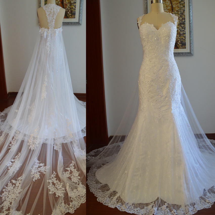 New Arrival Long Lace Mermaid Wedding Dress,Long Train Mermaid ...
