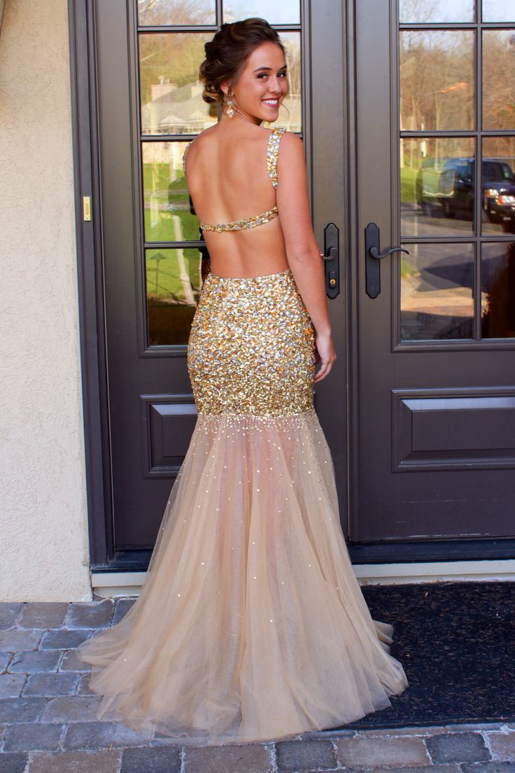 Shinny Gold and Silver Beaded Prom Dresses,