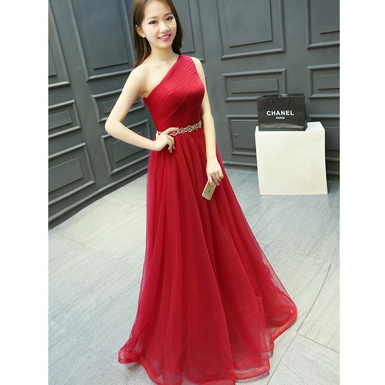 Long One Shoulder Prom Dresses