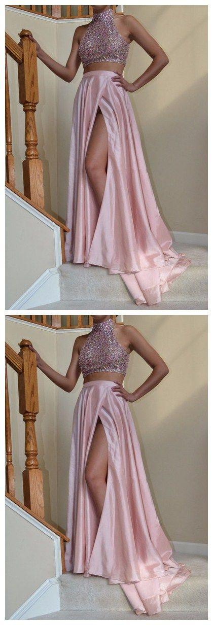 Halter Prom Dresses, Sweetheart Prom Dress,Leg Slit Prom Dresses ...