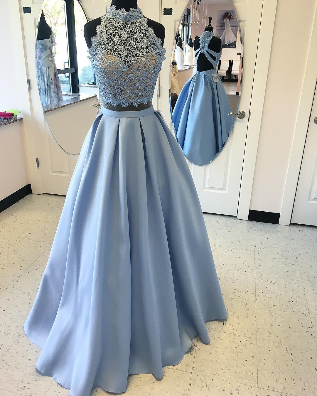 Sexy Prom Dress,Blue Prom Dress,Backless Evening Dress,Appliques ...