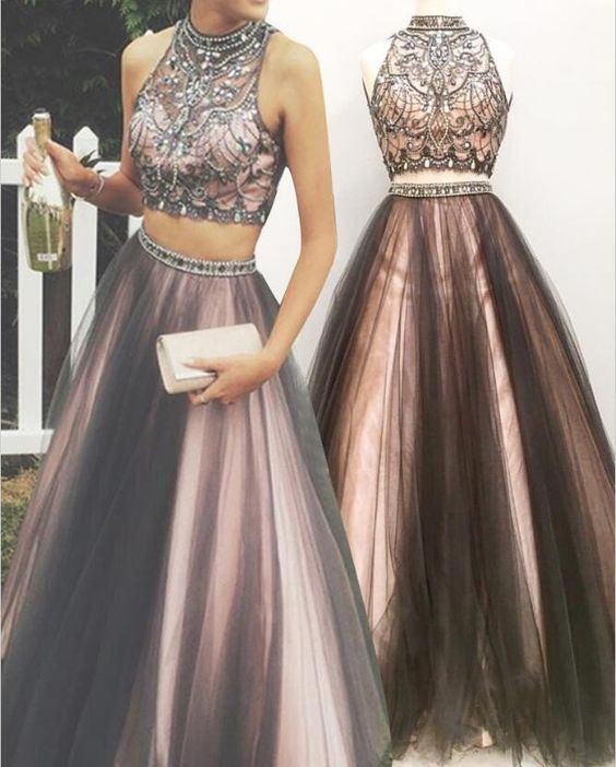 A-line High-neck Beaded Bodice 2 Piece Prom Dress,Long Prom Evening ...