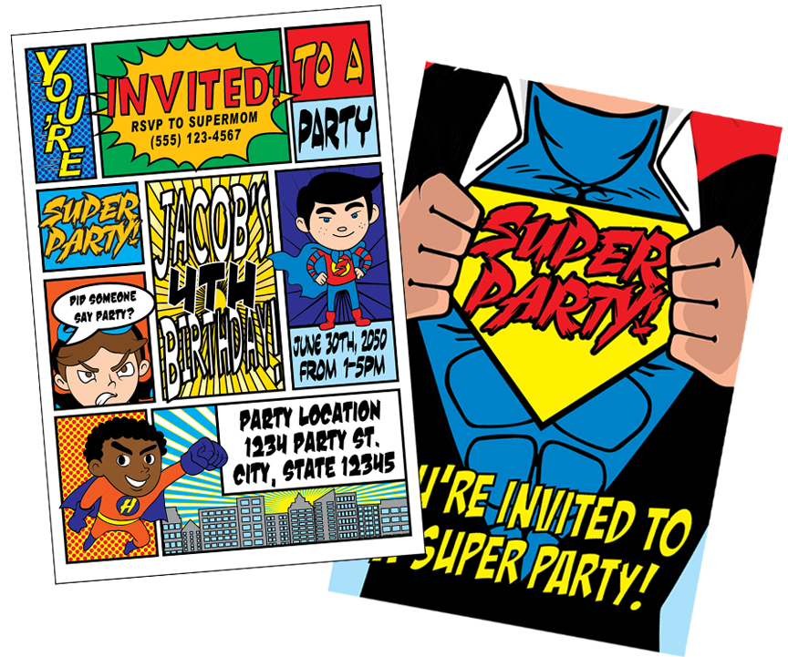 Superhero Birthday Invitations MetroEvents Party Supplies