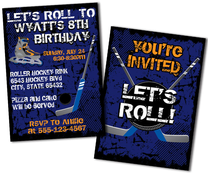 Roller Hockey Birthday Invitations MetroEvents MetroEvents