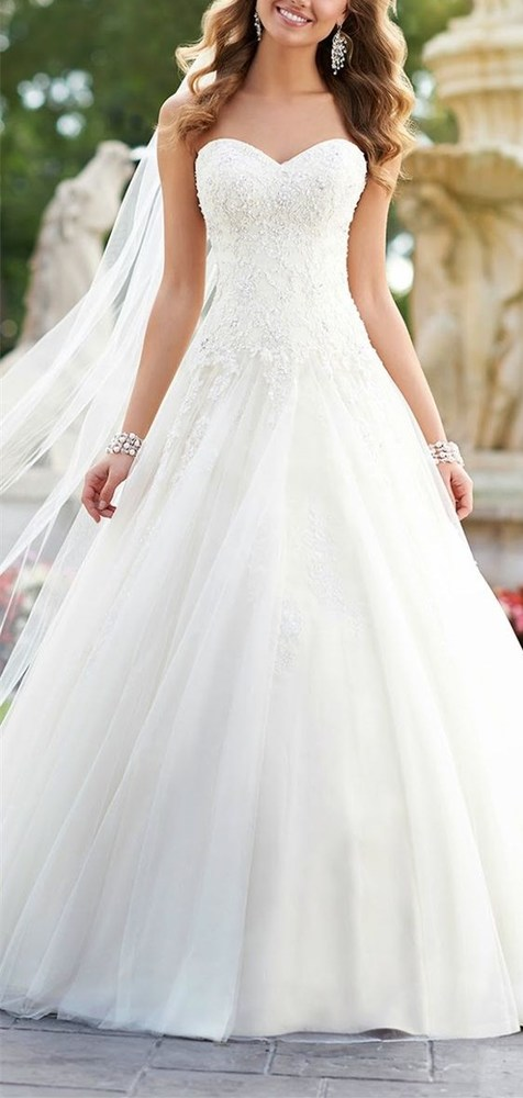 2017 Custom Lace wedding dress,Strapless wedding dress ...