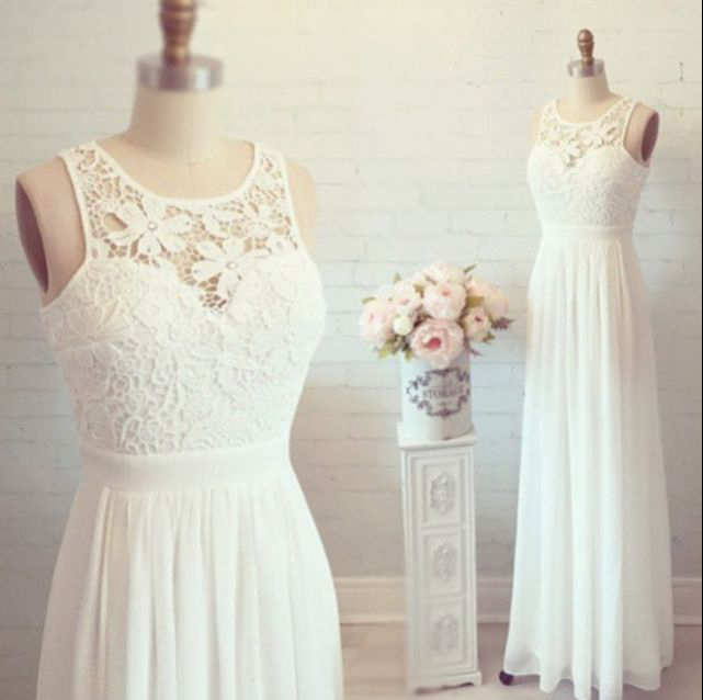 H58 A-line Lace Bodice Prom Dress Ivory Chiffon Beach Wedding Dress ...