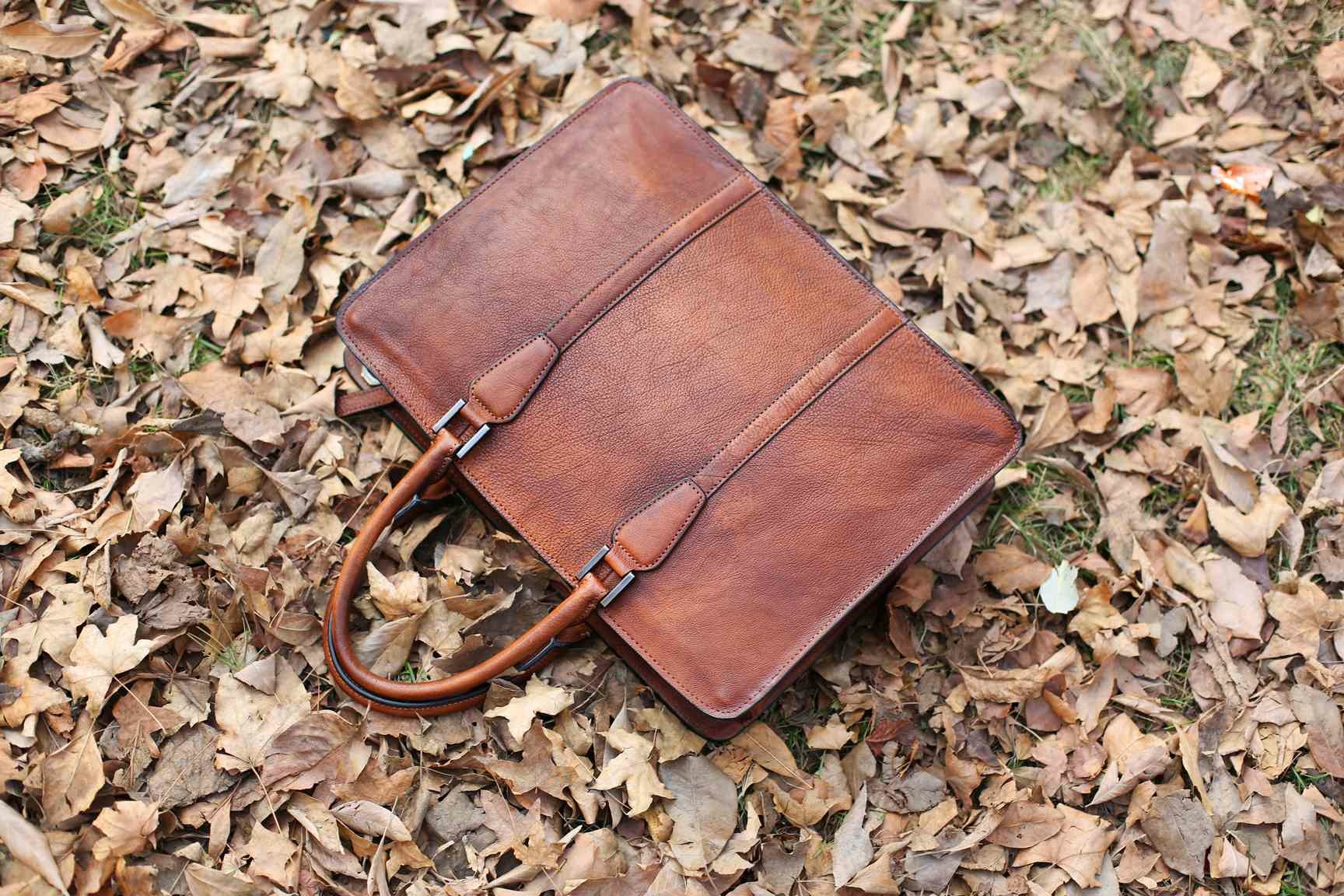Handmade Vintage Full Grain Leather Briefcase Laptop Bag
