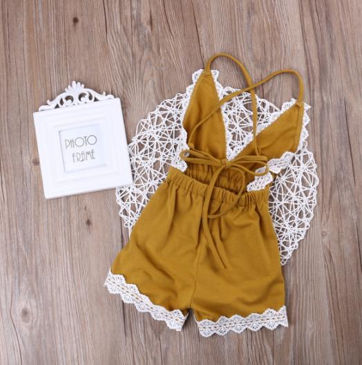9f86b11128 ... Baby Toddler Mustard Yellow Lace Romper - Thumbnail 2 ...