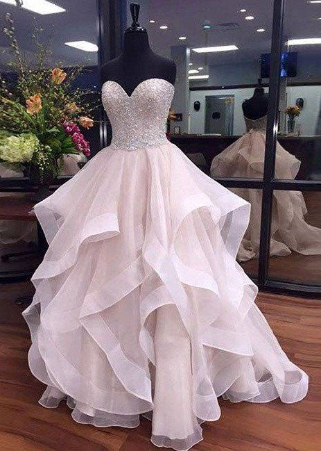 organza prom dresses sweetheart neckline,formal dresses,banquet ...