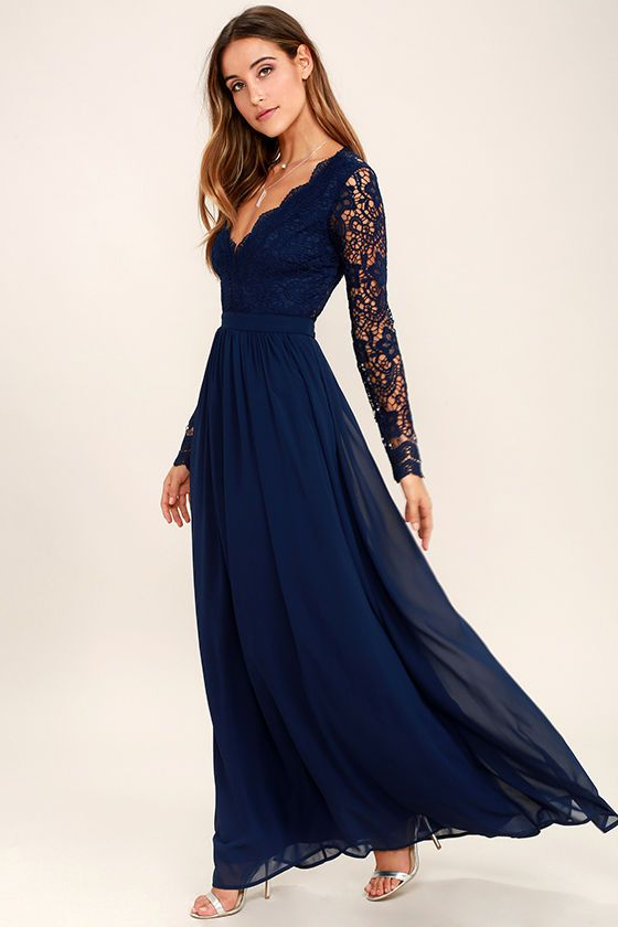 Navy Blue Bridesmaid Dresses A Line Long Prom Dress For Summer Fall