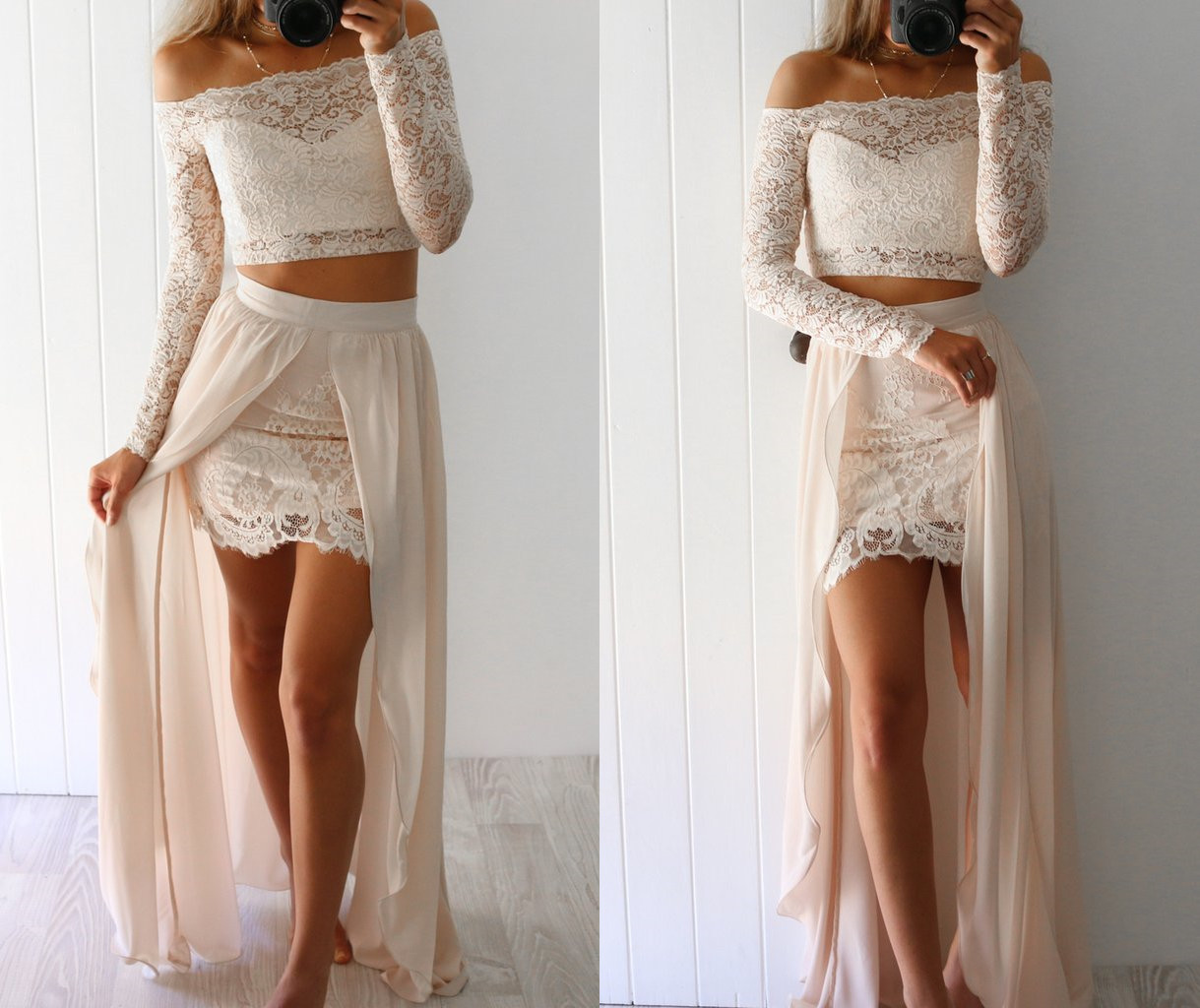 Two Piece Long Sleeves Beige Long Prom Dress with Slit,xp74 · Queen ...