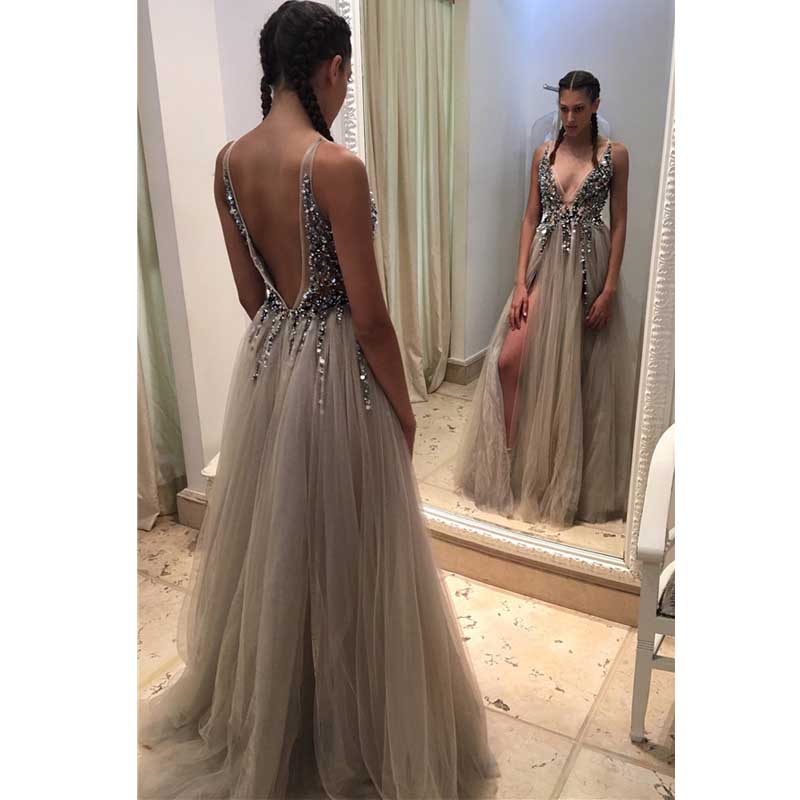 2017 Silver-Gray Charming Beading Prom Dress Tulle V-neck Party ...