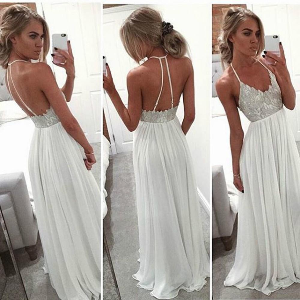 Sexy Spaghetti White Long Chiffon Prom Dress,Evening Dress,xp90 ...