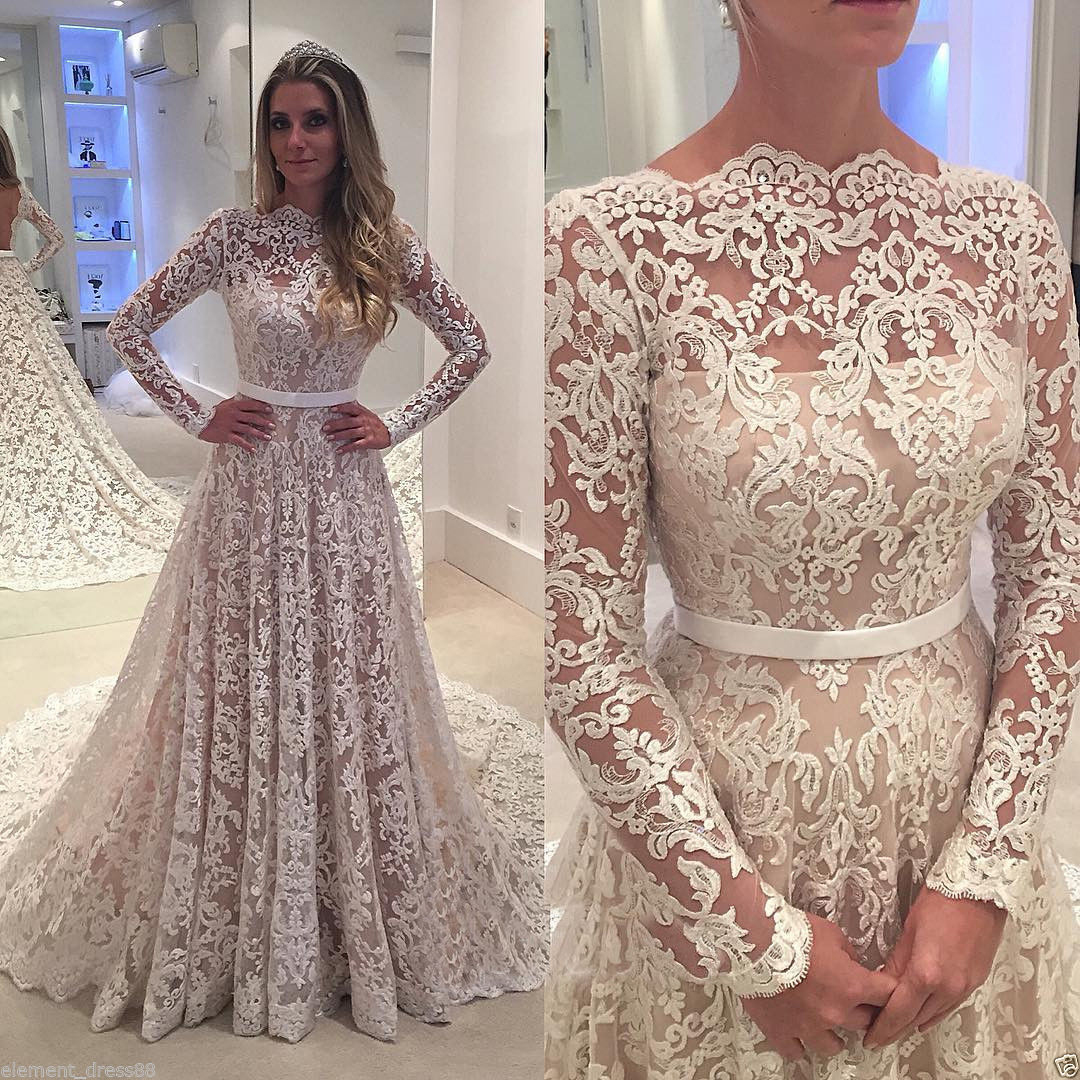 A-line Vintage Lace Wedding Dress,Long Sleeves Bridal Wedding Gown ...
