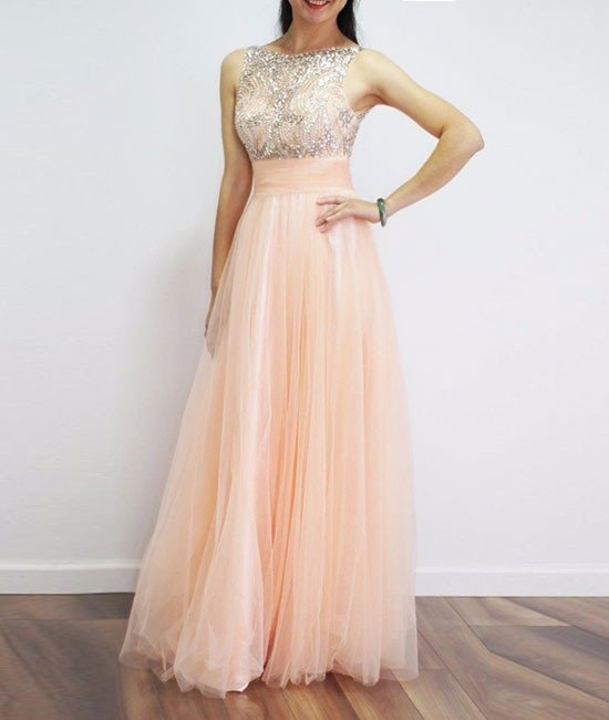 H403 Gorgeous A-line Beads Scoop Long Light Peach Prom Dress,Real ...