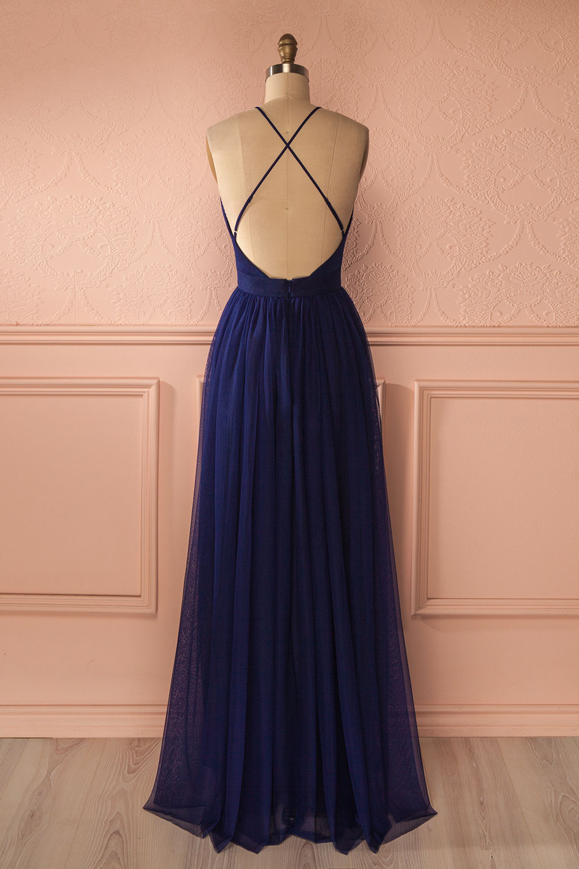 Simple Sexy A-Line Deep V-Neck Navy Blue Long Prom Dress ...
