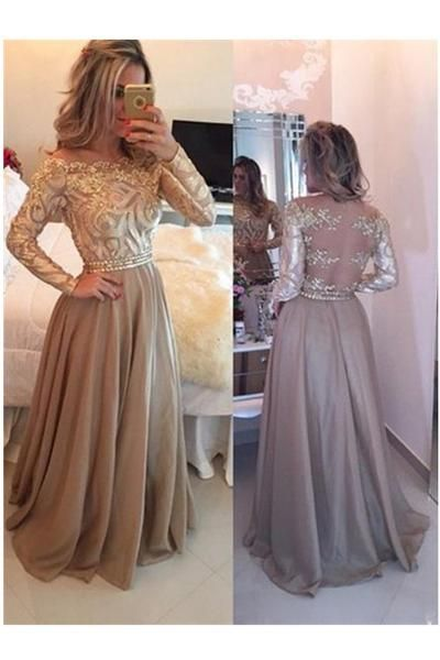 Charming A-Line Cowl Gold Long Prom Dresses,Long Sleeves Evening ...