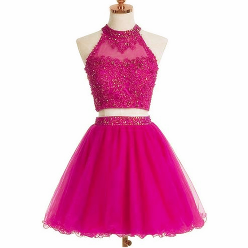 Short Prom Dress,Two Piece Prom Dress,Elegant Prom Gown,Tulle ...