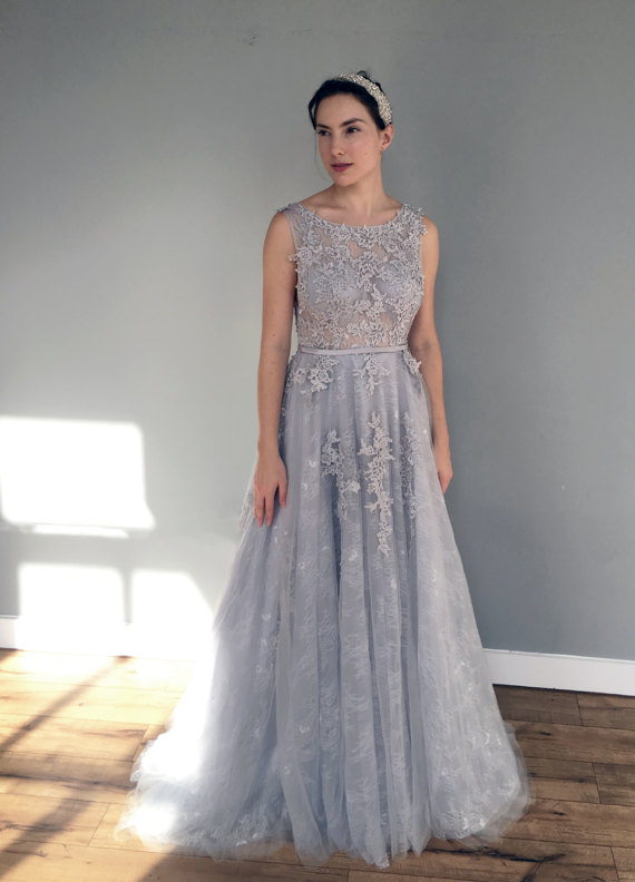 Wedding dresses bridal wedding dress light grey for Light grey wedding dress