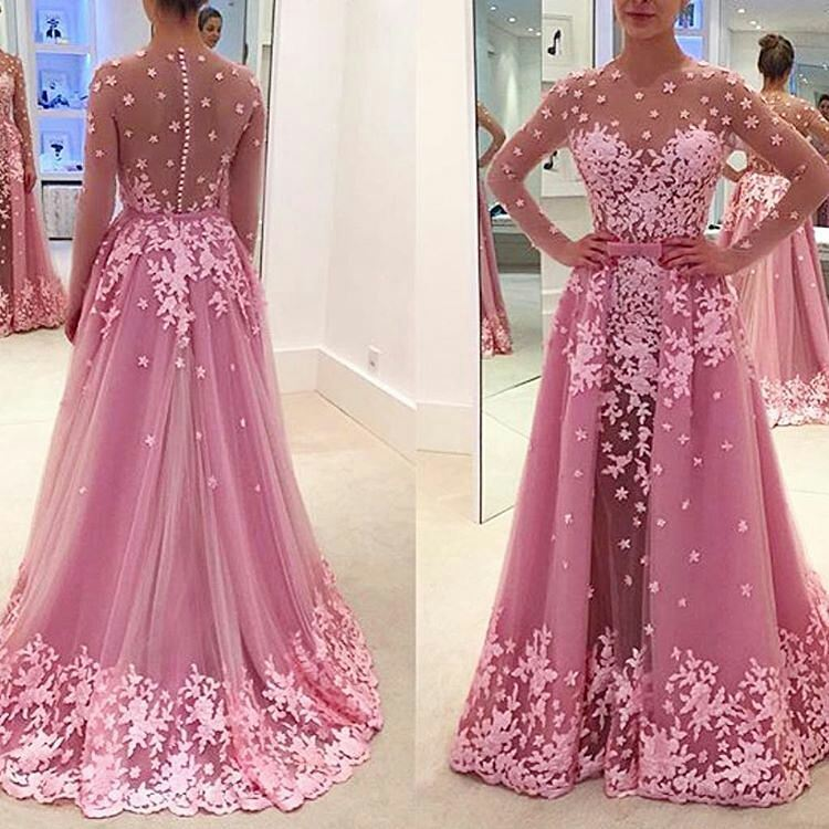 P232 Long Sleeves Prom Dress, 2017 Hot Pink Long Prom Dress, Prom ...